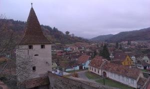 Uitzicht vanaf kerkburcht Biertan